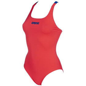 arena Solid Swim Pro One Piece Swimsuit Dame fluo red/neon blue